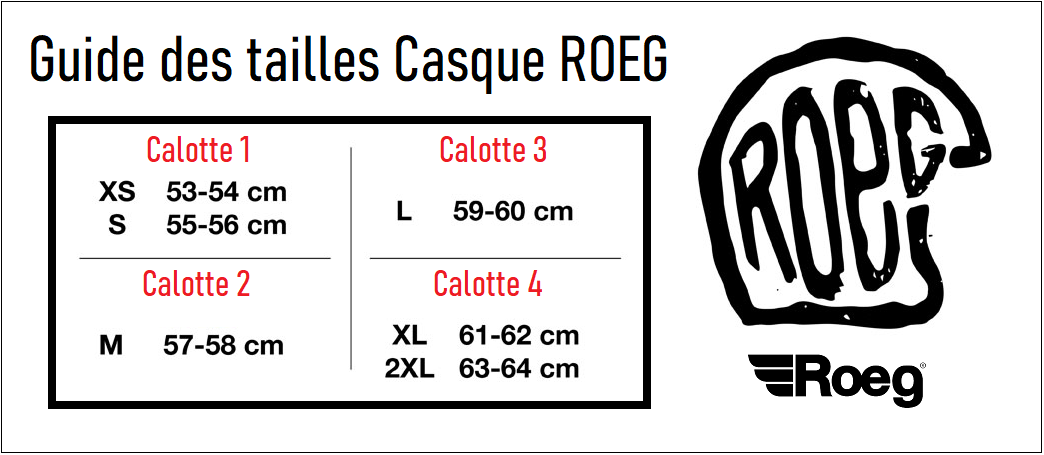 Guide des taille casque Roeg