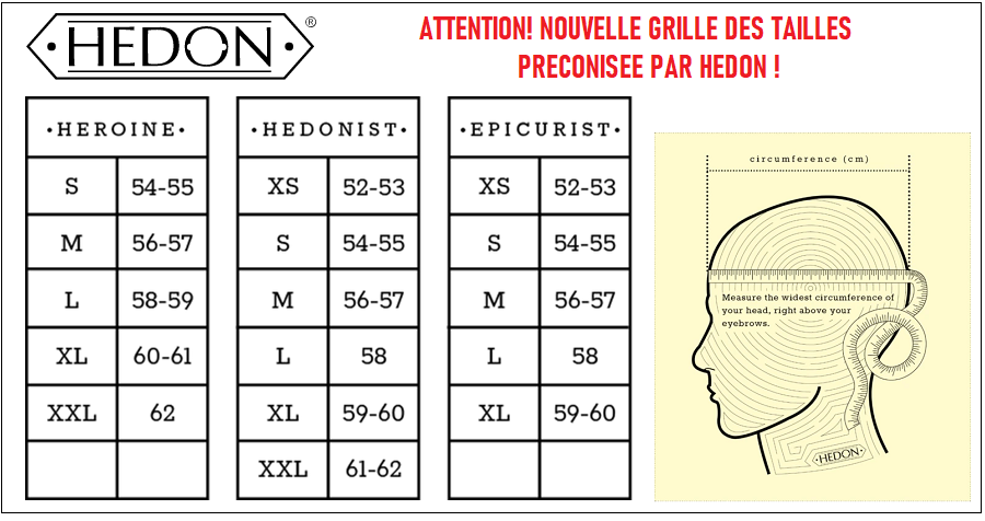 Guide taille casque hedon